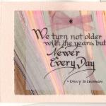 "Dickinson Quote  $5  Marbled paper, vellum, ribbon  We can write ""Happy Birthday"" inside."