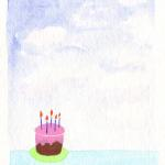 Tiny Cake  $6  Watercolor  Inside greeting - Happy Birthday