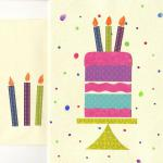 Paper Birthday Cake $6  Artist papers, watercolor, glitter
