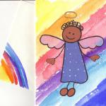 Rainbow Angel $6  Watercolor, artist papers, marker