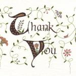 Thank You card  $15  Ink, regular and metallic markers.  Includes decorated envelope.