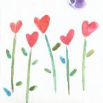 Hand painted Watercolor Heart Flowers with Butterfly $6