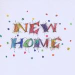 New Home - Watercolor with sparkle glaze  Inside greeting - Wishing you much happiness in your new home. $5