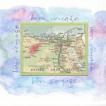 Bon Voyage card. Watercolor and inset map  Any location available $12