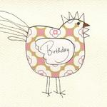 "Chicken Card  $5  Paper collage and ink.  ""Birthday"" and ""Thank you"" available."
