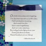 Wordsworth Quote  $5  Quote is printed, attached to card with ribbon.  Makes a great baby card.