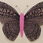 "3D Butterfly  $4.50  Vellum, artist paper  Decorated envelope  Available with ""Happy Birthday,"" ""Thank You,""  or no words."
