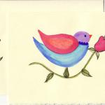 Watercolor Bird. $7 Original watercolor on watercolor card stock. Custom colors available. Decorated envelope